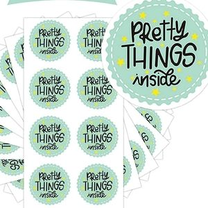 "80 Pc 2"" Pretty Things Inside Star Green Stickers"
